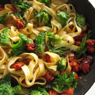 Tagliatelle with Flower Sprouts & Chorizo