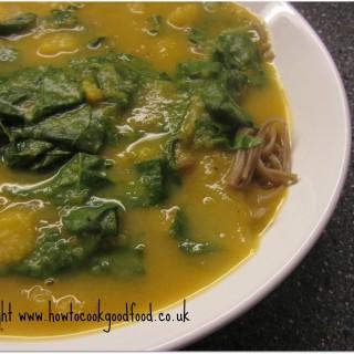 Thai style Squash Noodle & Spinach soup