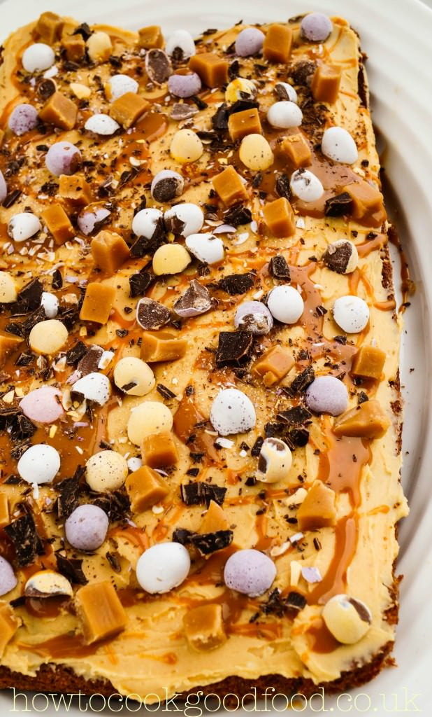 easter toffee fudge caramel traybake