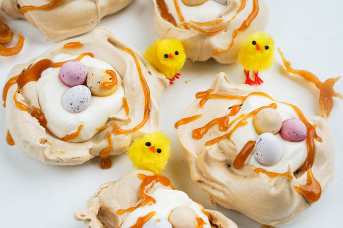 easter caramel meringue nests