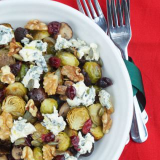 Roasted sprout mushroom blue cheese & walnut salad