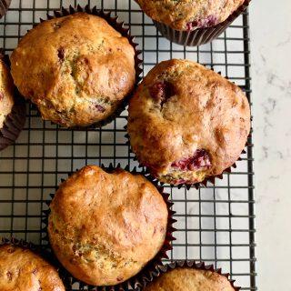 sourdough raspberry white chocolate banana muffins